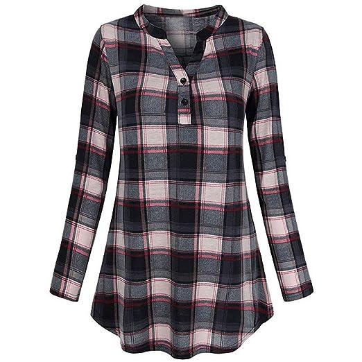 727d98d8851 Amazon.com  Kimloog Women s V Neck Roll-Up Long Sleve Plaid Tee Shirt  Casual Hem Tunic Tops  Clothing