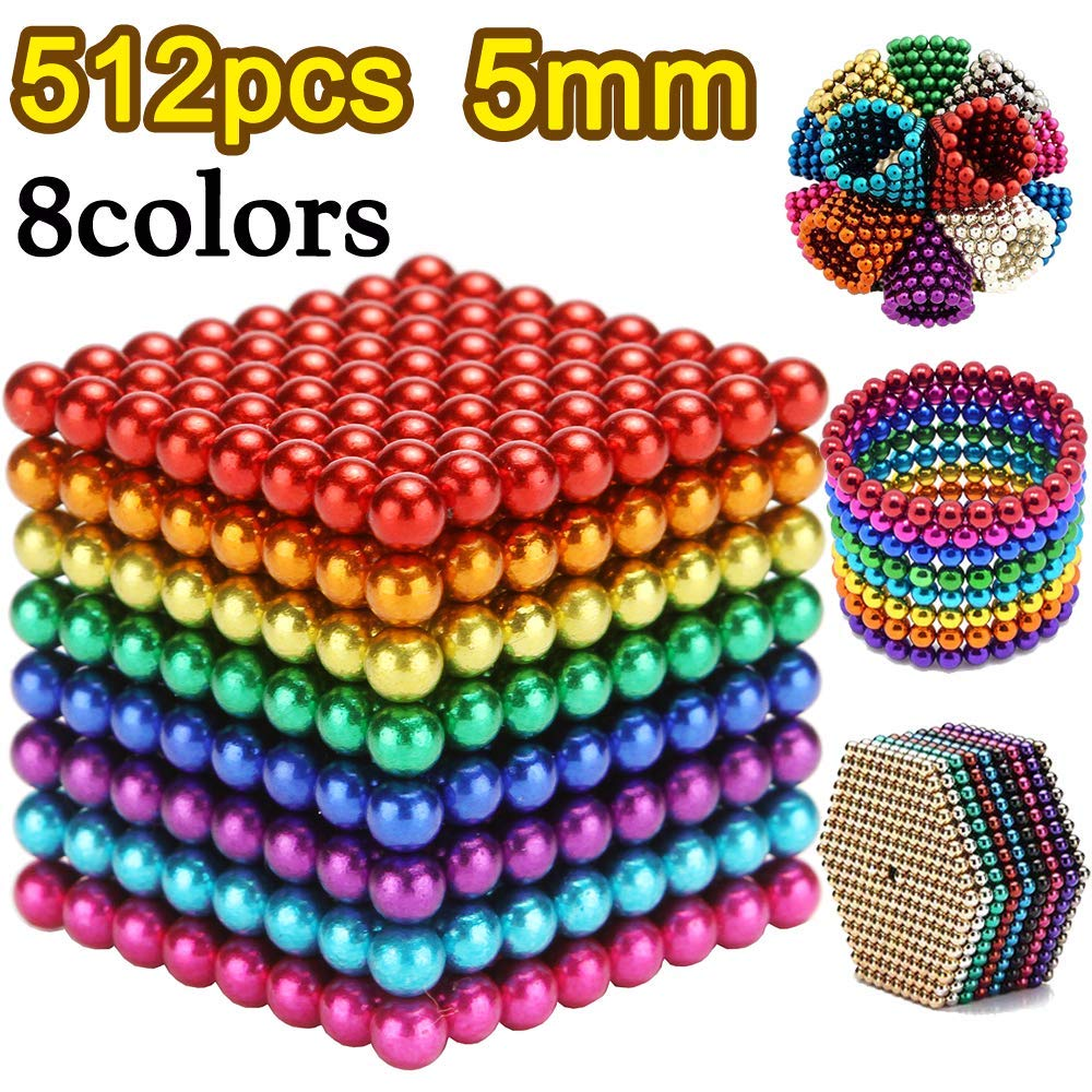 5MM 512 Pieces Magnetic Sculpture Magnet Building Blocks Fidget Gadget Toys for Stress Relief, Office and Home Desk Toys for Adults by BOMTTY