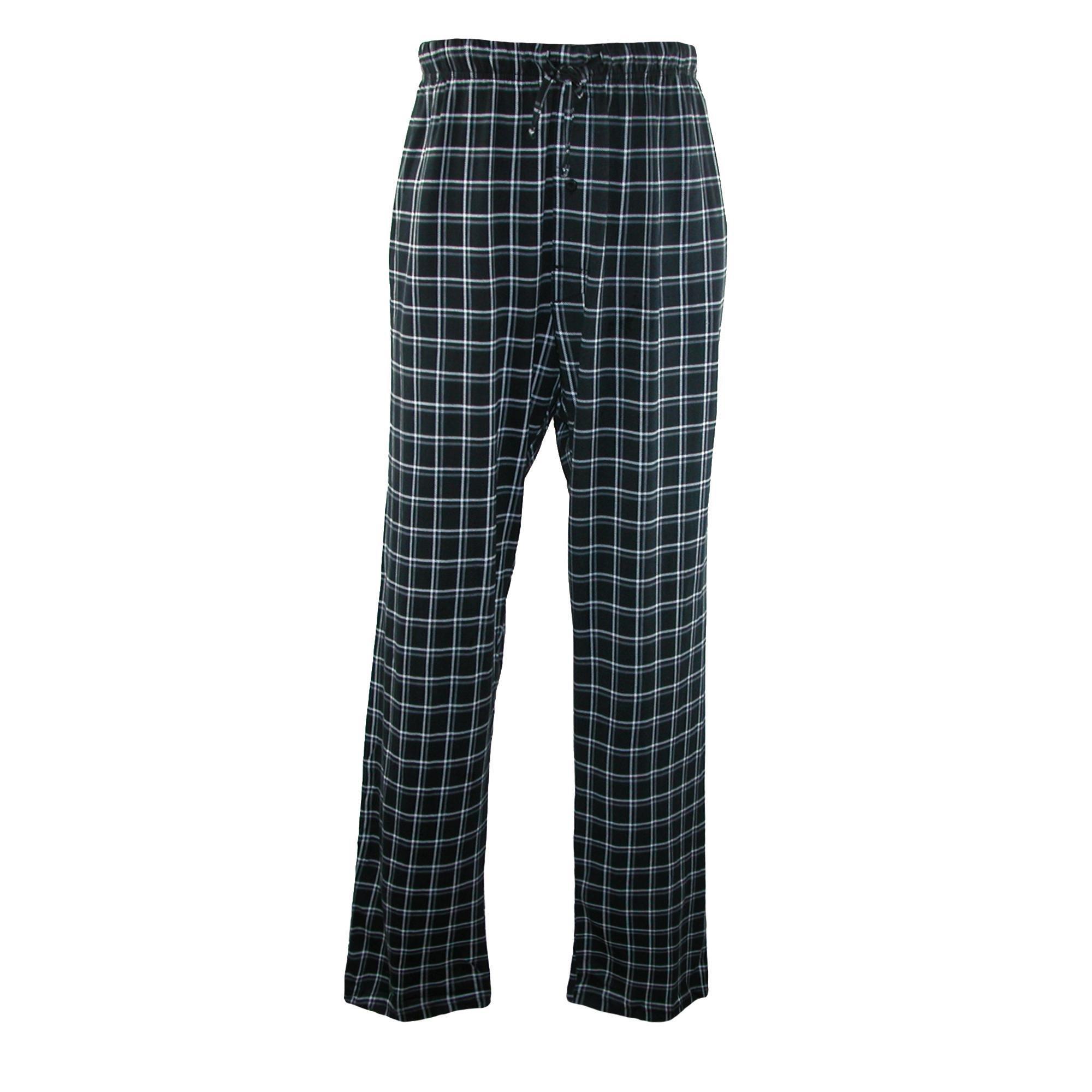 Hanes Men's Cotton ComfortSoft Printed Knit Pants, Large, Midnight