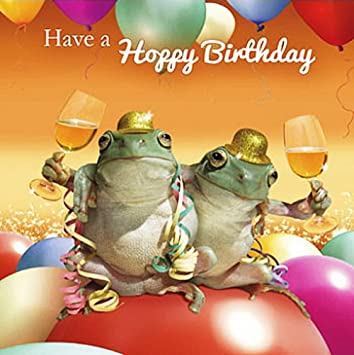 Two Frogs Birthday Card Have A Hoppy Birthday Amazon
