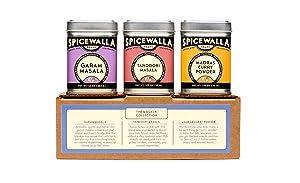 Spicewalla Indian Masala Spice Collection 3 Pack   Garam Masala, Tandoori Masala, Madras Curry Powder   Non-GMO, No MSG, Gluten Free
