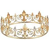 Eseres Men's Full Round Fleur De Lis King's Crown (Gold Plated)