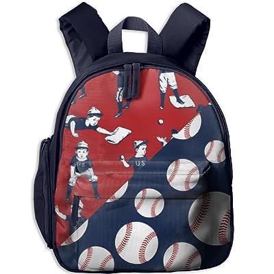 Gibberkids Toddler Kid Baseball Red & Blue US Patterns School Bag Bookbag For Boys Girls 1-6 Years Old