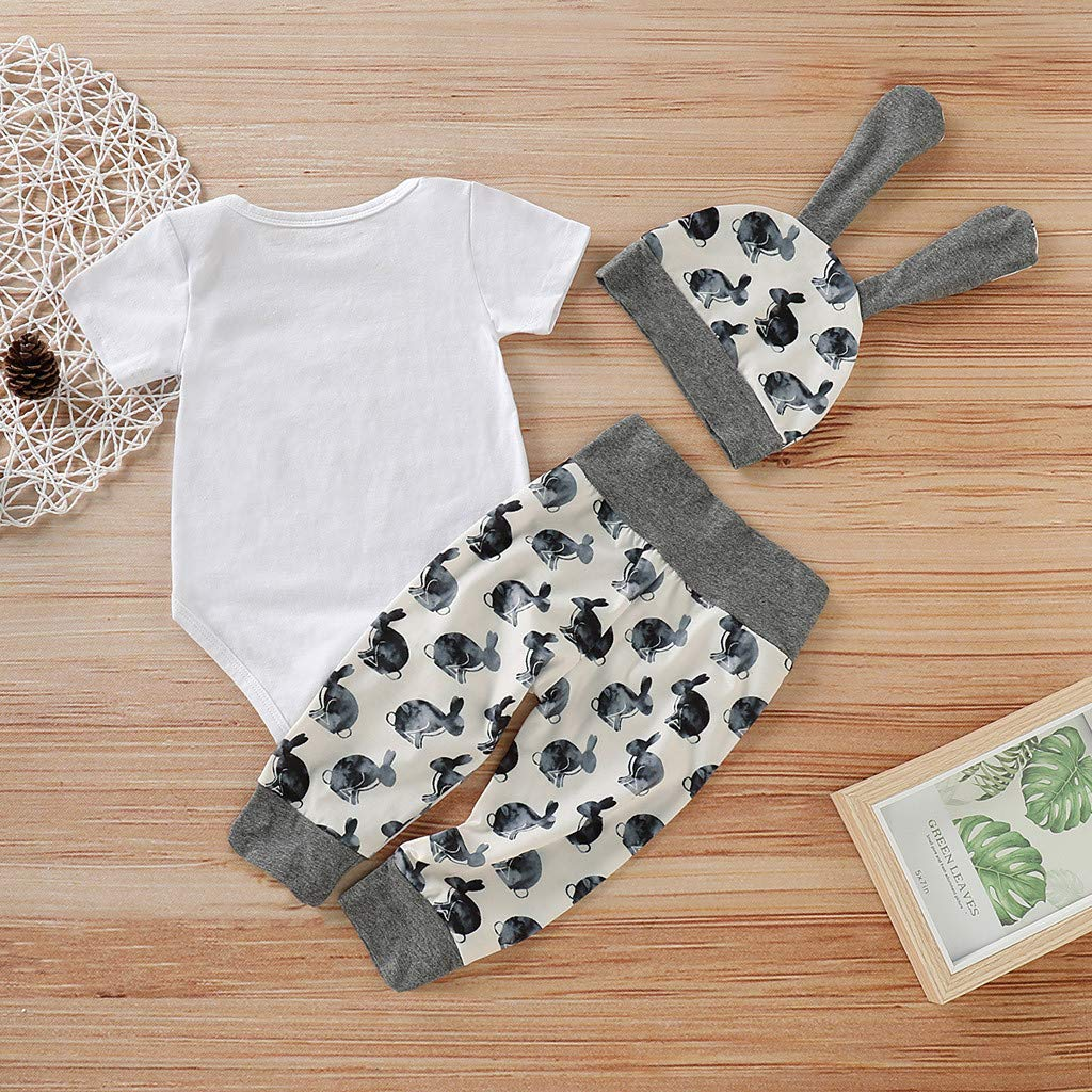 Babys Letter Printed Playsuit,Suma-ma Toddler Boy Girl Cartoon First Easter 3D Bunny Outfits Romper Hat Pants Set