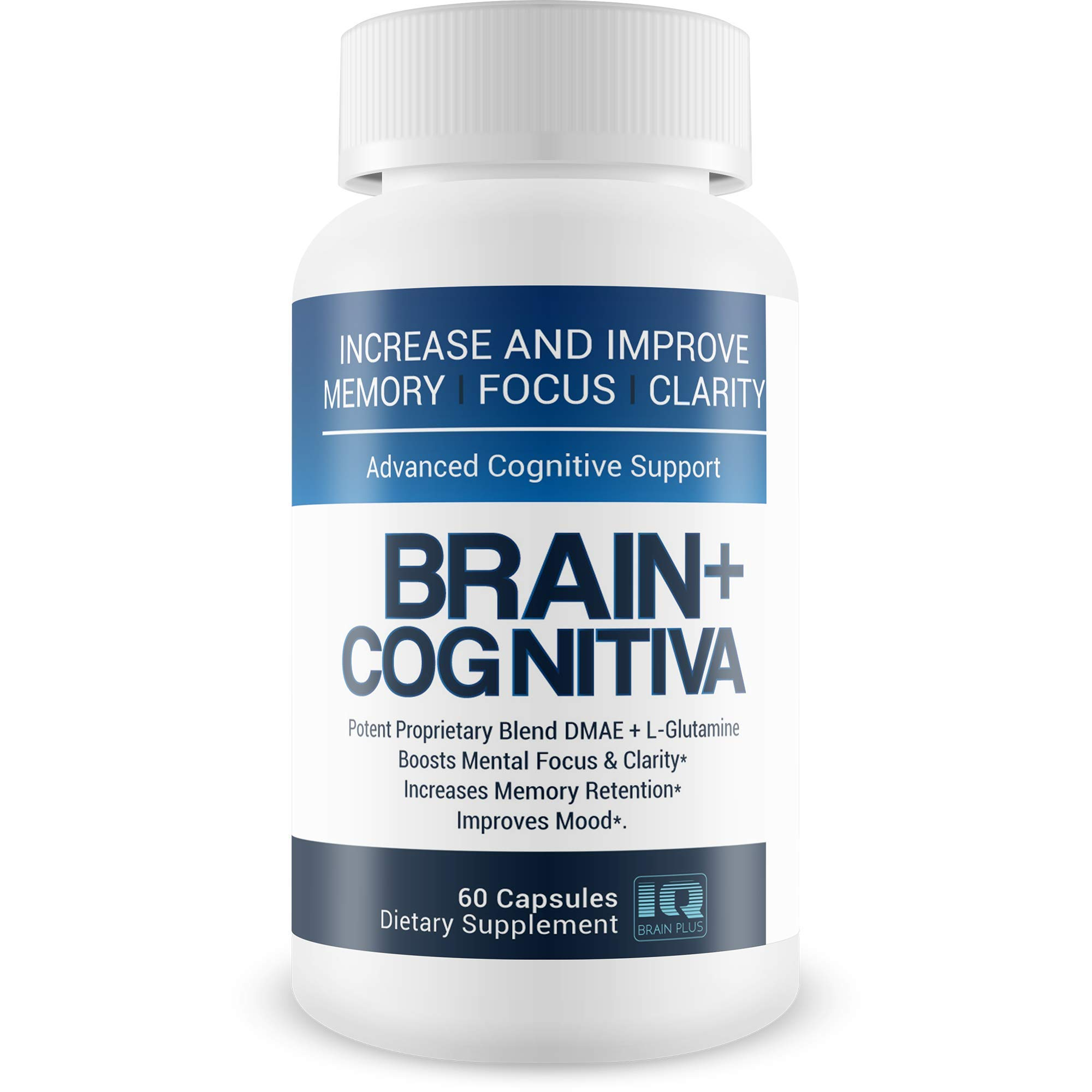 Brain+ Cognitiva - Advanced Cognitive Support - Help Increase and Improve Memory, Boost Mental Focus, and Support Mental Clarity - L-Glutamine Capsules for Brain Support and Opti Nootropic Boost by IQ Brain Plus