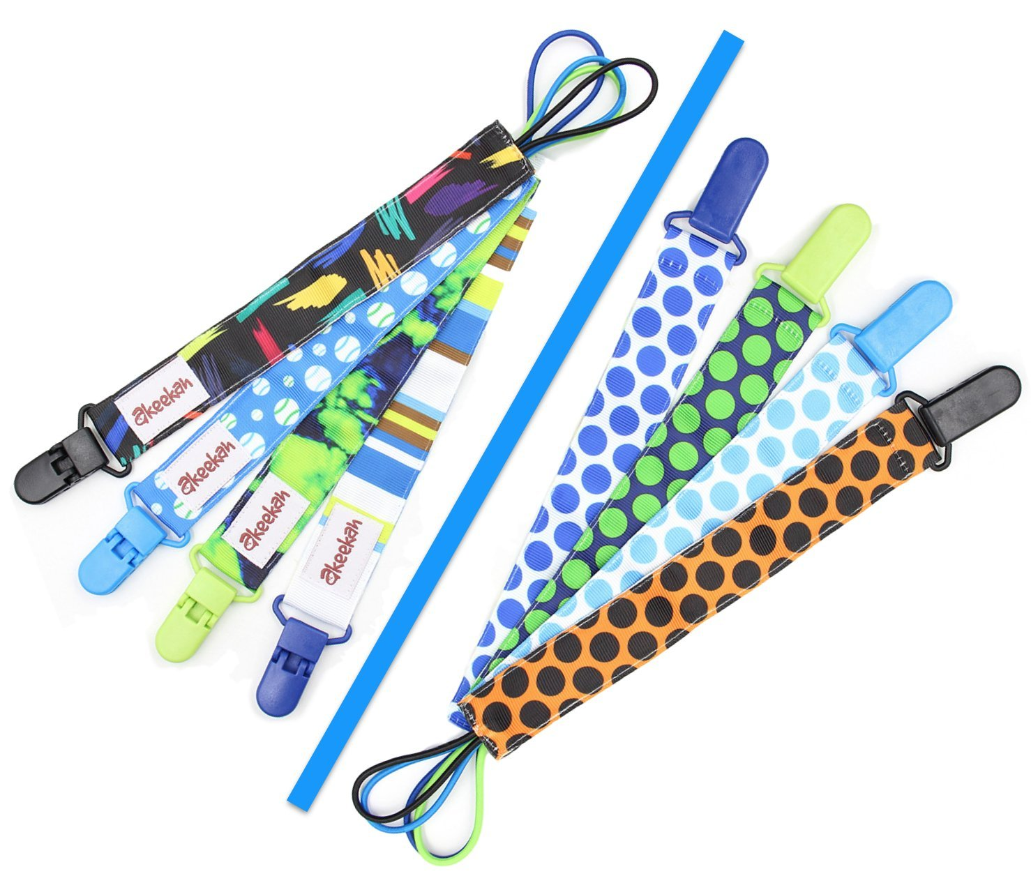 Soothie Pacifier Clip Boy by Akeekah4 PackLuxury Eco-Friendly For Boys