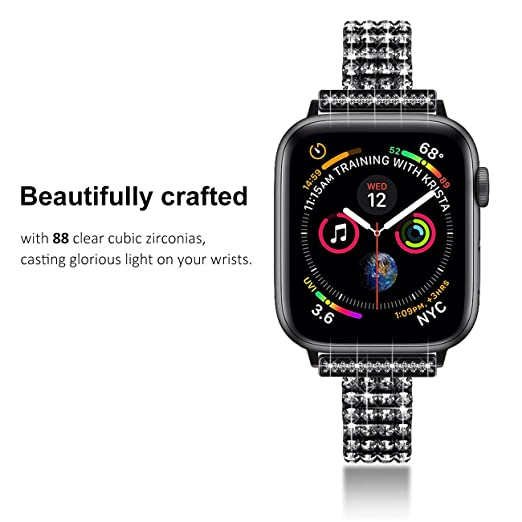 Fullife Compatible for Apple Watch Band 40mm Series 4 Replacement for Apple Watch Bands 38mm Women Diamond Bracelet Compatible with Apple Watch Series ...