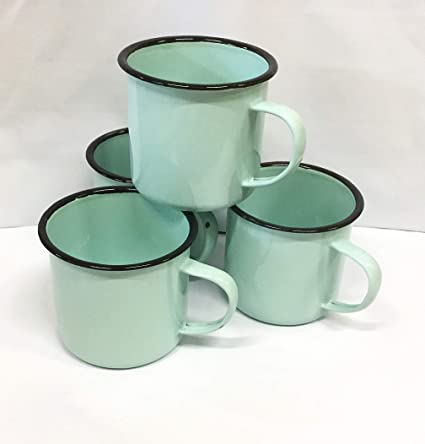 924befd0b4c Amazon.com | Set of 4 Classic Retro Enamelware Coffee and Tea Mugs ...