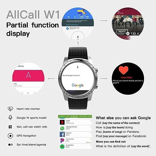 Smartwatch AllCall W1 Monitor de ritmo cardíaco, aplicación ...