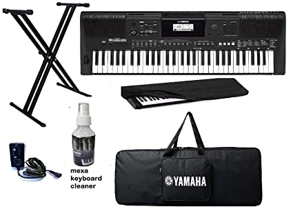 yamaha keyboard PSR-E463 Combo Pack of 61 Keys Touch Sensitive Keyboard  with Keyboard Stand, Adapter, Bag and Dust Cover