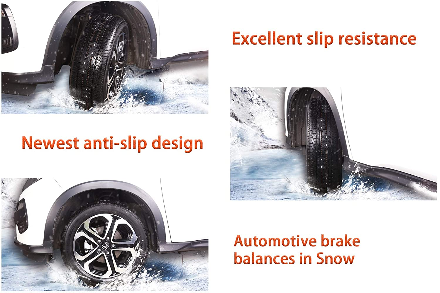 Pickups and SUVs For Passenger Cars Anti-Skid Chains Set of 4 SIZE M SAILINE 2018 Snow Chains Applicable Tires Drainage Channel