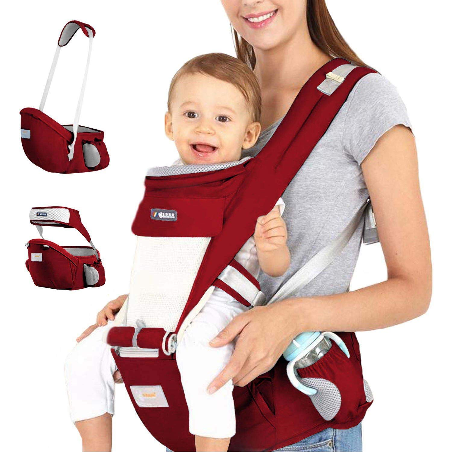 Kaipiclos Baby Carrier with Hip Seat for Newborn Infant and Toddler Ergonomic Baby Wrap Carrier Hipseat Backpack