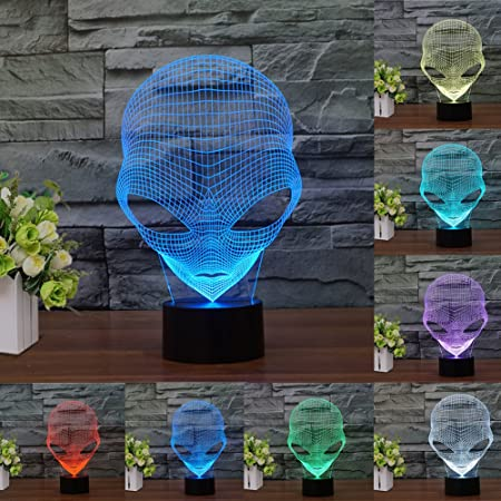 [New ] 3D Night Light- Modern Martian Mood Lamp - 3D Illusion Lamp 7 LED Light Colors Optical Illusion with USB Cable Smart Touch Button Control, ...