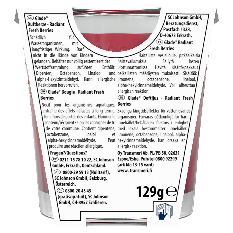 Candela profumata Glade Radiant Fresh Berries confezione da 6 pezzi durata fino a 30 ore