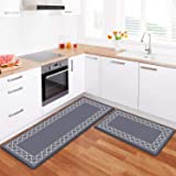 LuxStep Kitchen Mat Set of 2 Anti Fatigue Mat, PVC Non Slip Kitchen Rugs and Mats Waterproof Memory Foam Kitchen Rug, Standin
