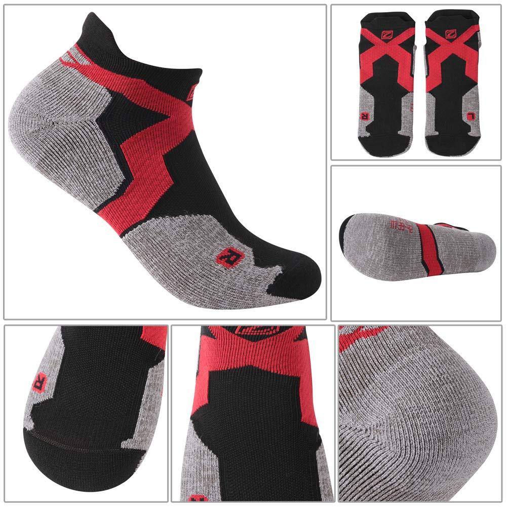 Wool Cycling Socks, ZEALWOOD Anti Blister No Show Running Socks Women and Men Golf Socks,Trail Walking Socks, Merino Wool Antibacterial Wicking Light Athletic Socks,3 Pairs,Black Red Grey by ZEALWOOD (Image #5)