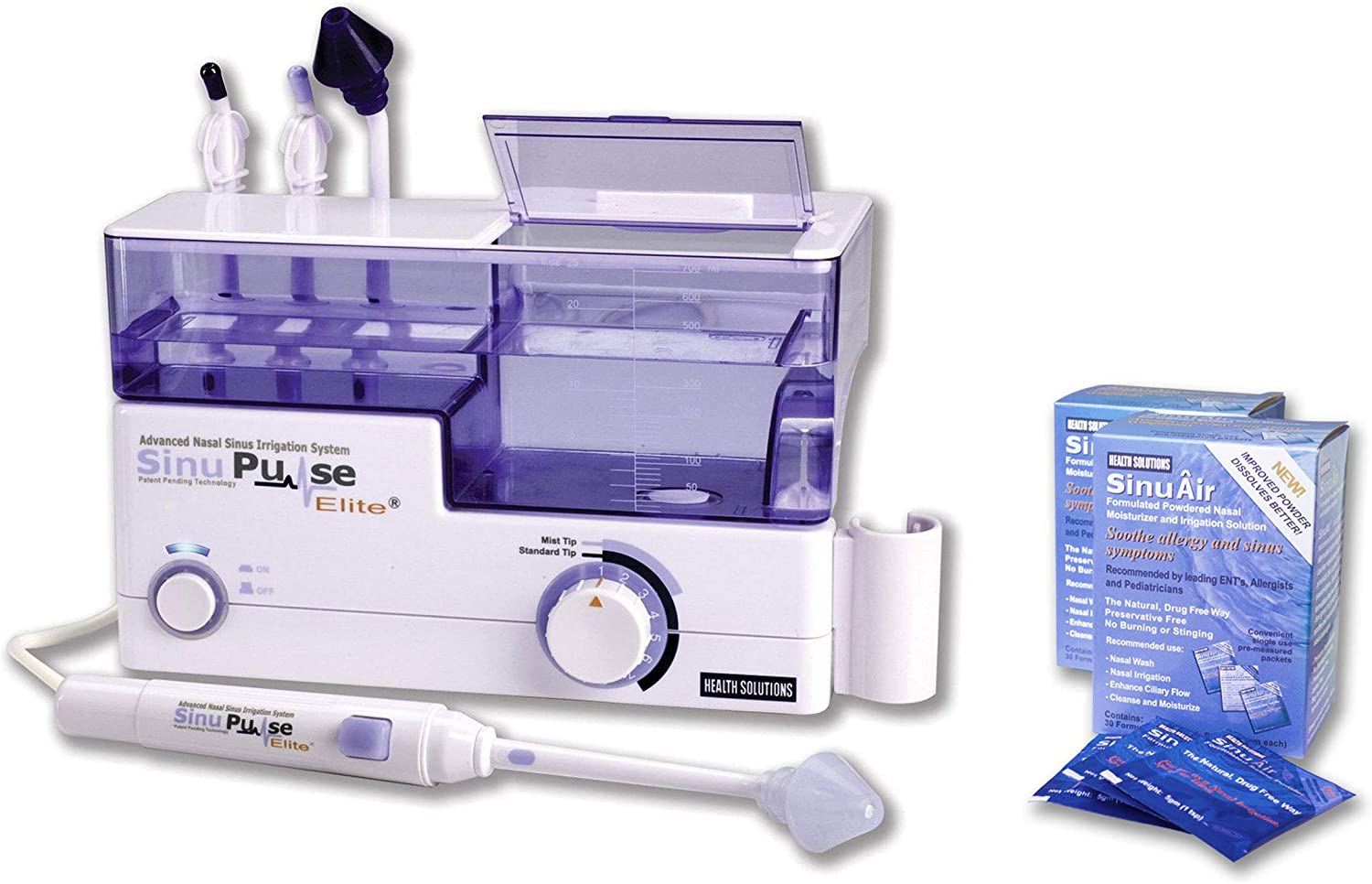 SinuPulse Elite Advanced Nasal Sinus Irrigation System with 60 Additional SinuAir Packets
