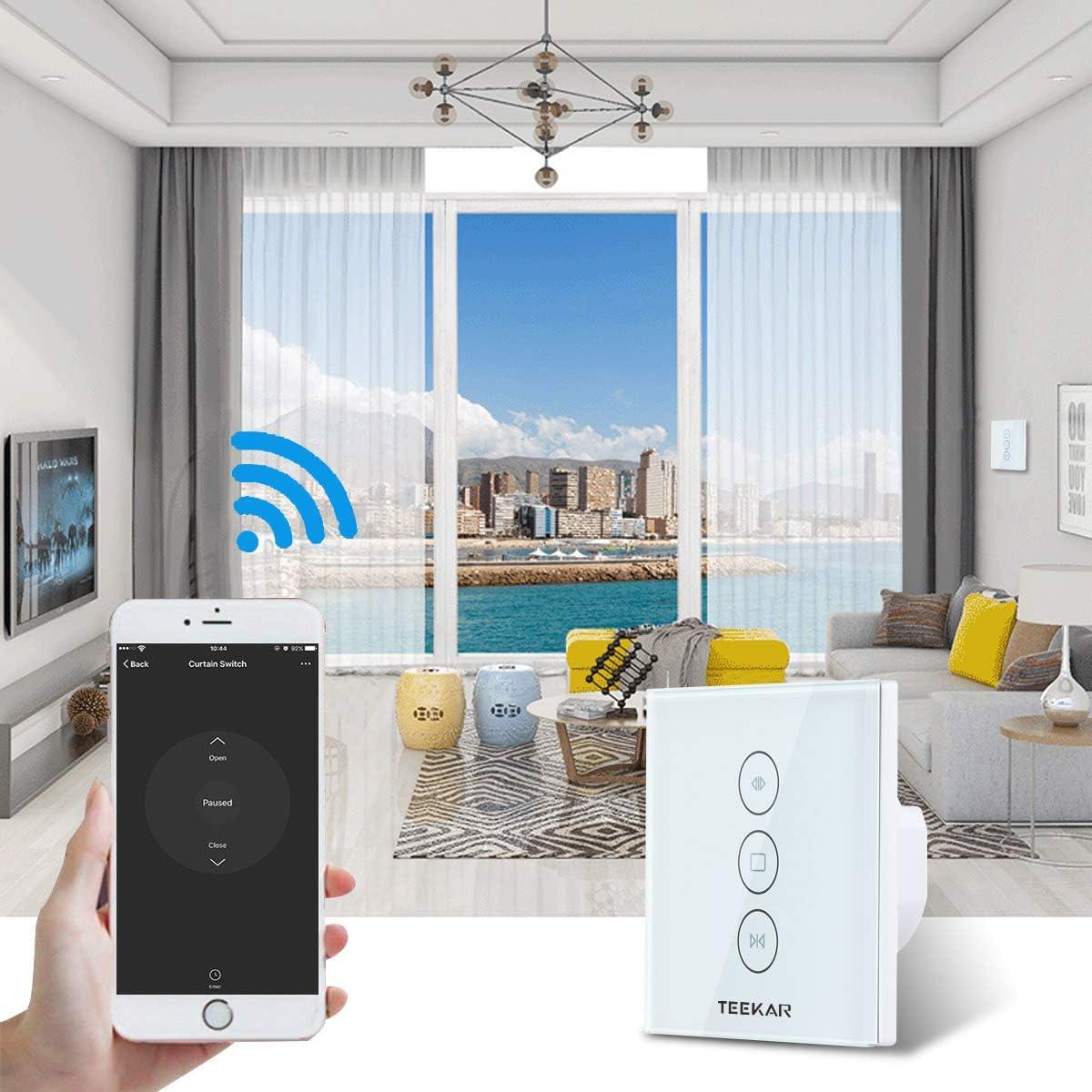 TEEKAR des minuterie de volet roulant Stores commutateur Wifi Compatible avec Alexa Echo et Google Assistant dobturation Horloge Interrupteur pour volet roulant Moteur