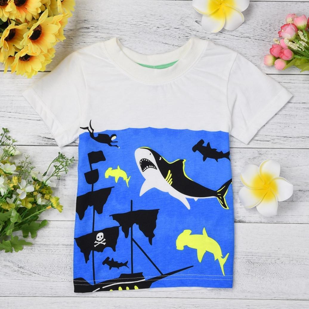 WARMSHOP Boys Summer Clothing Shark Print Short Sleeve Cartoon Tops T-Shirt Funny Round Collar Blouse Tees