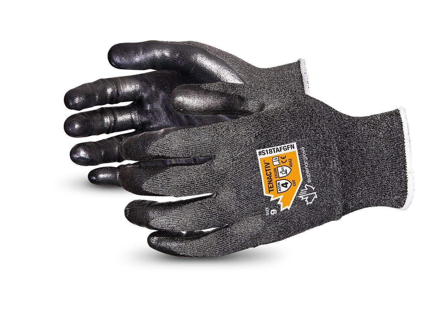 TenActiv Cut Resistant Gloves: 18-Gauge Composite Filament Fiber w/Level-4 Cut-Resistance & Foam Nitrile Palms (Touchscreen-Compatible) (Item S18TAFGFN - Size 8)