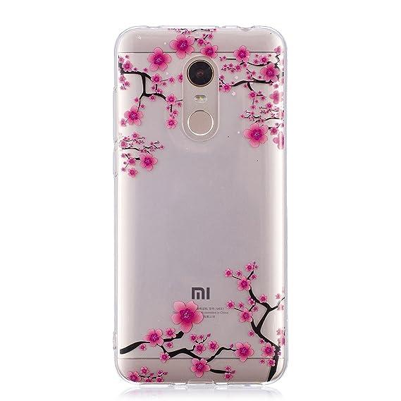 the best attitude a305c 4f35a Xiaomi Redmi 5 Plus case, Clear Design Printed Transparent Hard Case with  TPU Bumper Protective Back Case Cover for Xiaomi Redmi 5 Plus (Plum)