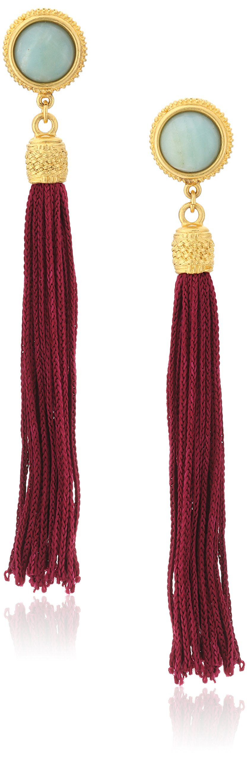 Ben-Amun Jewelry Silk Road Stone Gold-Plated Tassel Clip-On Earrings