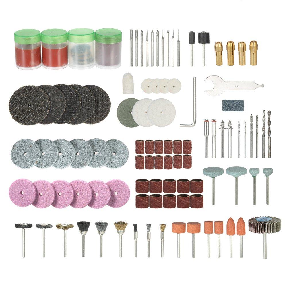 KKmoon 166PCS 1/8 '1.5mm, 2.35mm, 3.0mm, 3.2mm Shank Rotary Tool Accessoires Set Sanding Polishing Grinding Bit d'accessoire de coupe pour Dremel Grinder