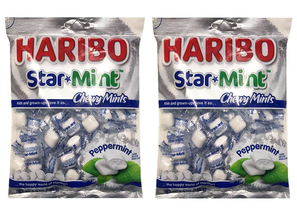 HARIBO Star Mint Chewy Peppermint Mint Candy 6.5oz (2 Pack)