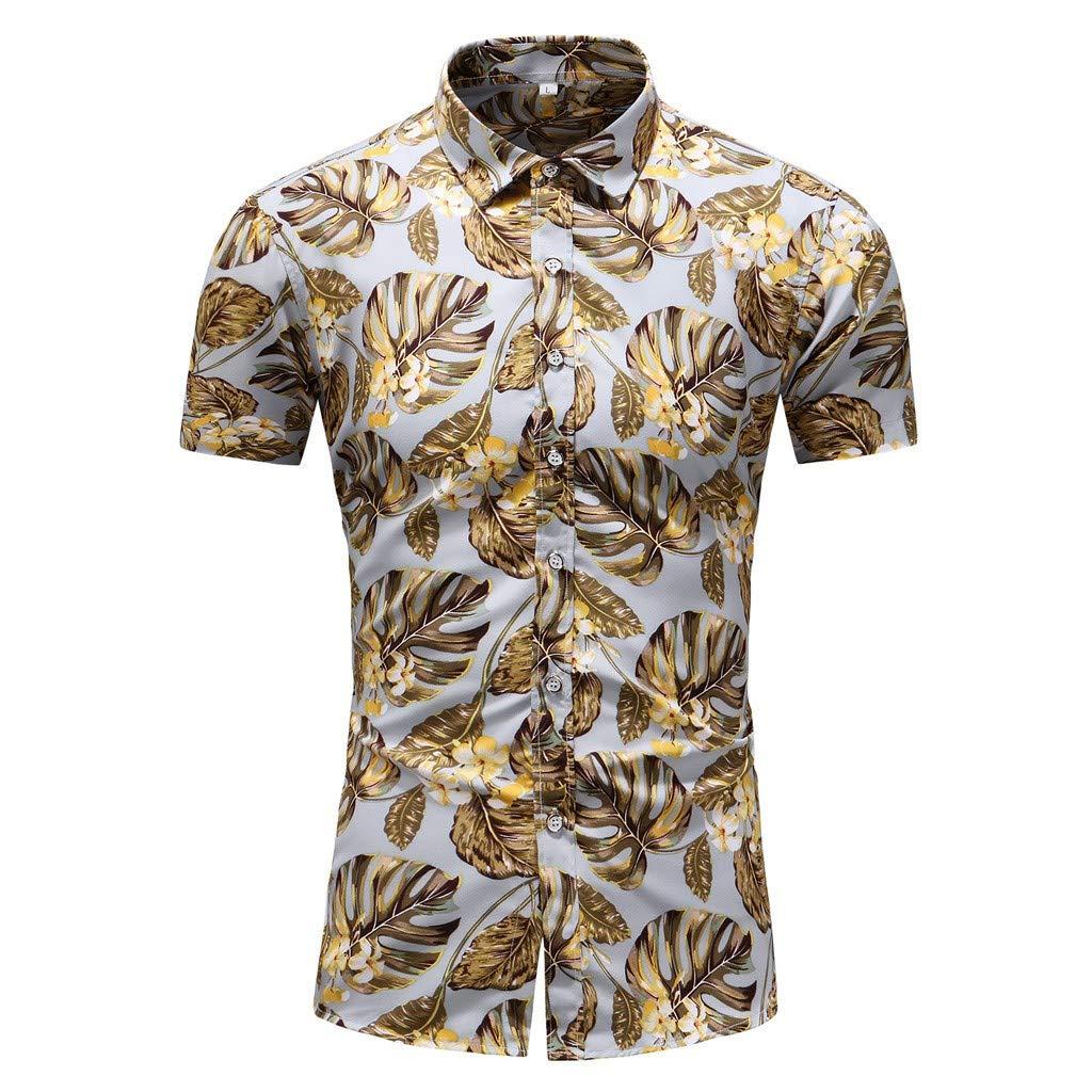 CieKen Men's Long Sleeve Shirts with Pocket,Men's Summer Business Leisure Short-Sleeved Plus Size Printing Shirt,Men's Big & Tall T-Shirts,White,3XL