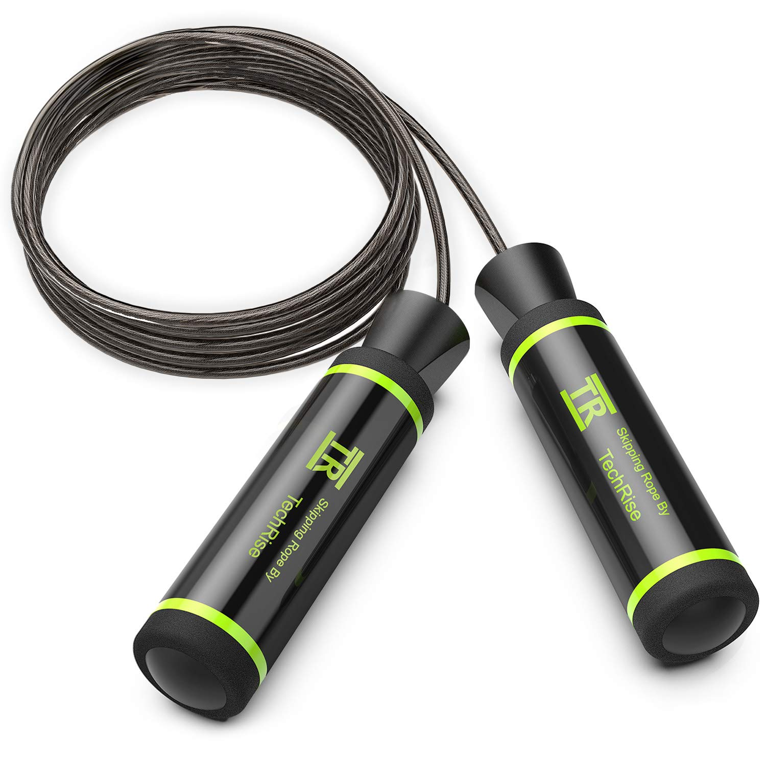 TechRise Skipping Rope, Speed Skipping Jump Jumping Rope with Skin-friendly Handle and Adjustable Soft Steel Wire Inside Rope for Fitness Workouts Fat Burning Exercises and Boxing 621632