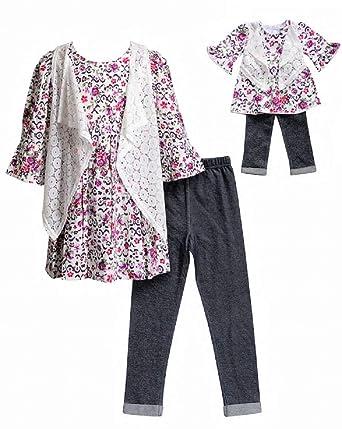 Amazon Com Dollie Me Girls Burgundy Floral Size 4 14 Tunic Vest