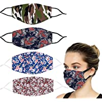 YUESUO 4 PCS Fashion Pretty Fabric Flower Face Mask Reusable Washable Adjustable Cotton for Adult Men Women Outdoor…