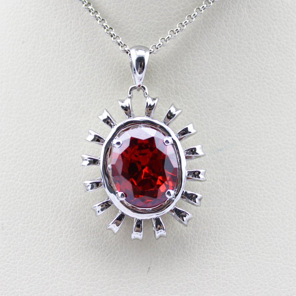 Jade Angel Women Jewelry 925 Silver with 10x12mm Oval Red Cubic Zircon Pendant