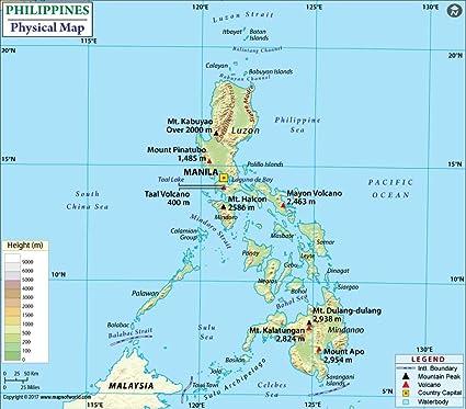 Amazon.com : Philippines Physical Map - Laminated (36