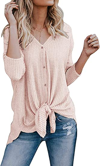 1XL-3XL Women  Basic Thermal Long Sleeve  Solid Waffle Knit  T-Shirt Top PLUS