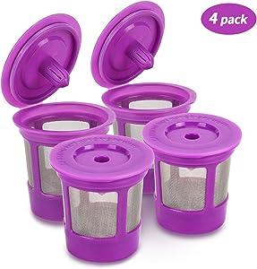 Reusable Keurig K Cups Pod Coffee Filters for Keurig 2.0 & 1.0 Brewers, Universal Refillable KCups, Keurig filter, Reusable Kcup, K Cup K-cups Reusable Filter 4 Packs