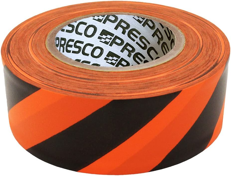 Presco Stripe Cinta de bandera con rollo estampado: 1-3/16 in. x 300 ft. (Rayas Naranjas y Negras): Amazon.es: Bricolaje y herramientas