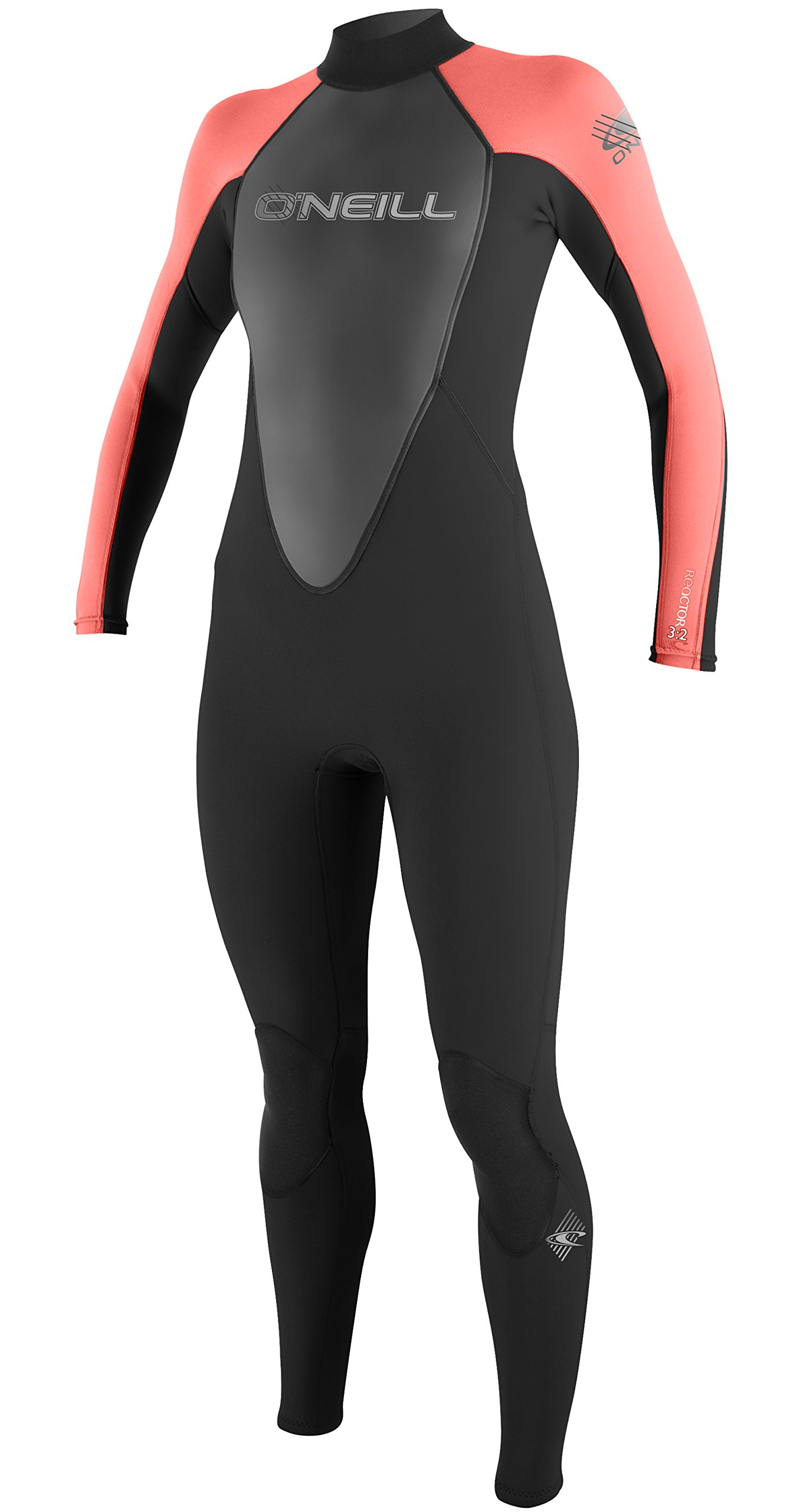 O'Neill Women's 3/2mm Reactor Full Wetsuit, Black Coral, Size 6