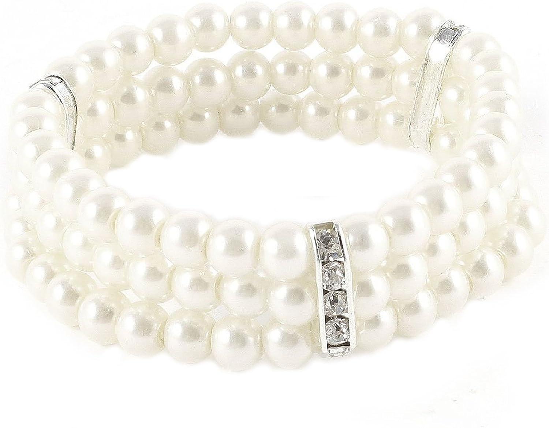 TOOGOO(R) Pulseras Pulseras de 3 Filas de Perlas de Imitacion para Mujer Pulsera de joyeria Blanca