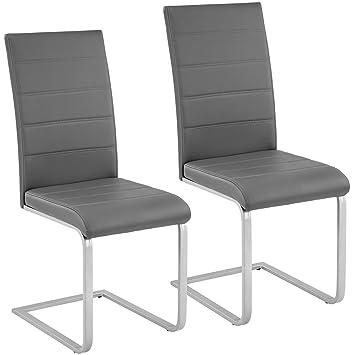 b2409341f4 TecTake Esszimmerstühle Schwingstuhl Set | Kunstleder - Diverse Farben -  (2er Set grau | Nr