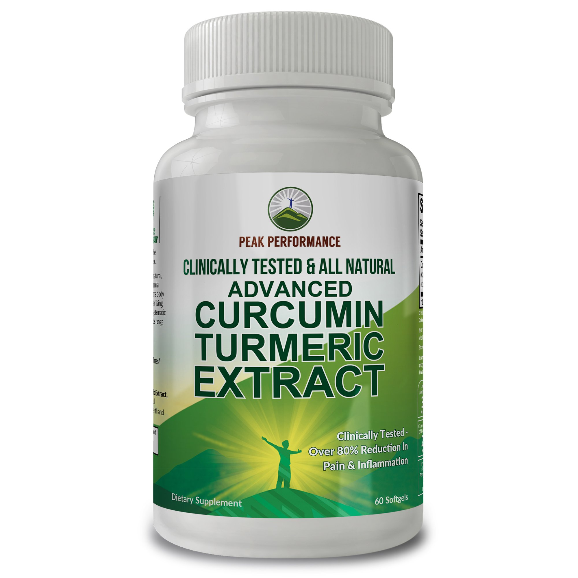 Advanced Turmeric Curcumin Extract Clinically Proven Reduction in Pain and Inflammation. Proof - We Have The Clinical Human Study. 48 Times More Absorption. All Natural Supplement by Peak Performance