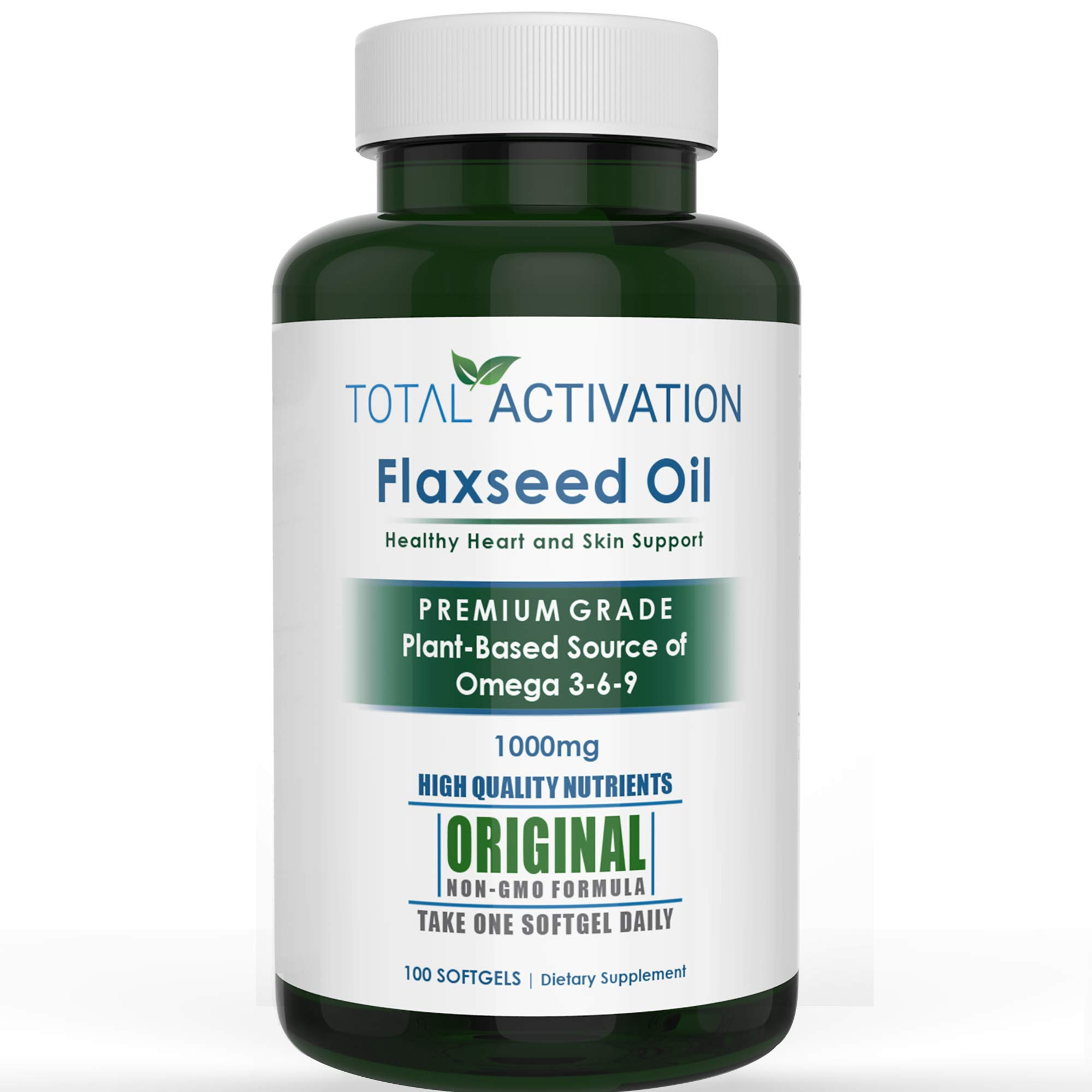 Organic Flaxseed Oil 1,000 mg Omega-3, Immune System Booster with Omega 3,6,9 from Natural ALA, Supports Healthy Heart, Hair, Skin and Nails, 100 Rich Liquid Softgels Per Bottle by Total Activation
