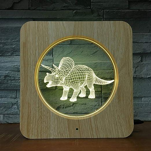 wangZJ Luz de marco de grano de madera de dinosaurio animal ...