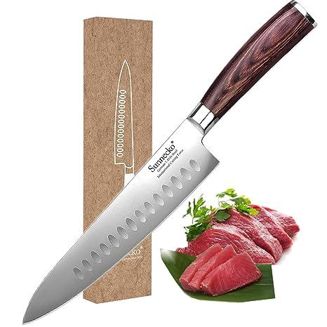Sunnecko cuchillo de chef de borde hueco, cuchillo Gyuto de ...