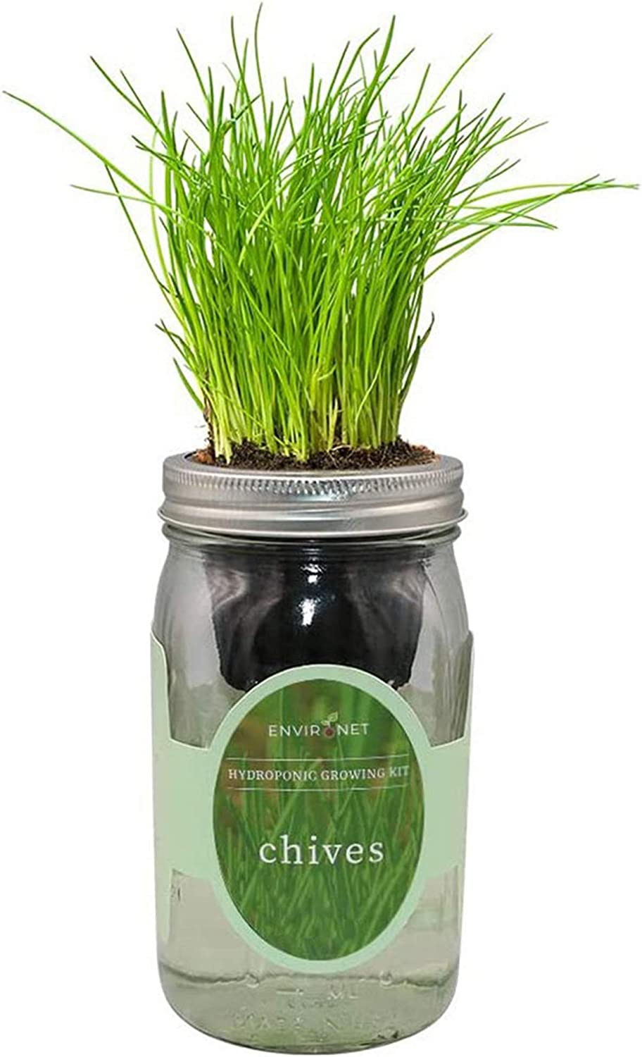 Environet Hydroponic Herb Growing Kit, Self-Watering Mason Jar Herb Garden Starter Kit Indoor, Grow Your Own Herbs from Seeds (Chives)