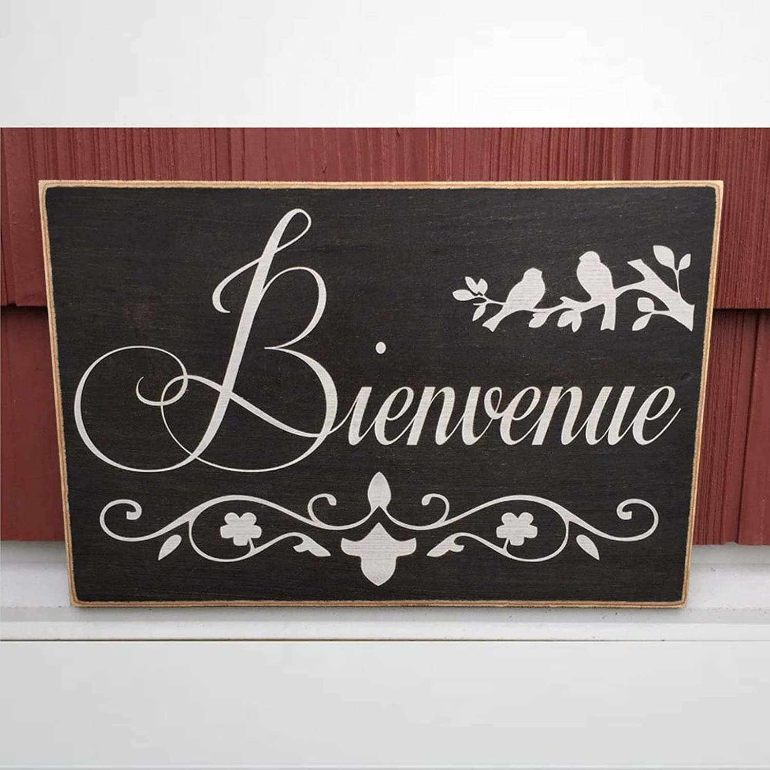 EricauBird Bienvenue 12 X 18 6w Wood Wall Decor Sign,Custom Wood Sign,Wooden Plaque Art for Easter, Father's Day,Mother's Day,Home,Gardens.