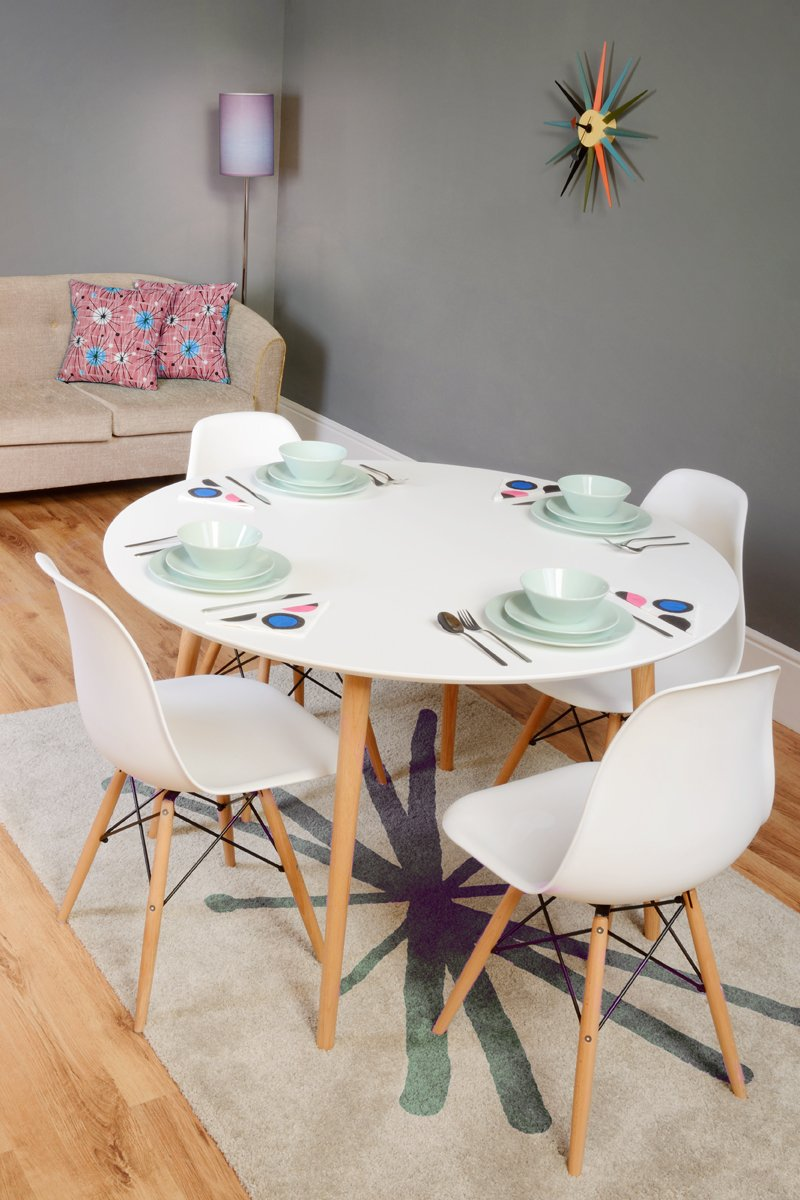 round white dining table. MY-Furniture - Dining Table Lacquered White Retro Round -Tretton (Round Lacquered): Amazon.co.uk: Kitchen \u0026 Home E