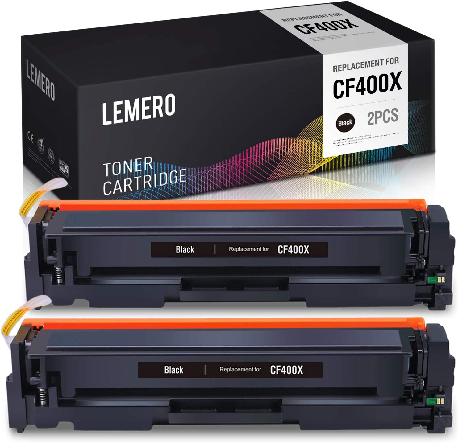 LEMERO Compatible Toner Cartridge Replacement for HP 201X 201A CF400X CF400A to use with Color Laserjet Pro M252dw M252 MFP M277dw M277 M277c6 M277n (Black, 2-Pack)