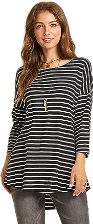 SONJA BETRO Women's Stripe Knit Scoopneck 3/4 Sleeve Seam Detail Tunic Top