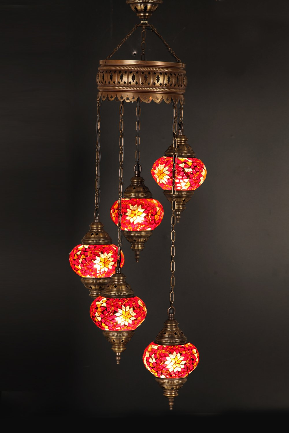(Height: 33.5 in) Mosaic Chandelier Set 5 Globes, Handmade Authentic Tiffany Lighting Moroccan Lamp Glass Stunning Bedside Night Lights Brass&Glass Ottoman Turkish Style